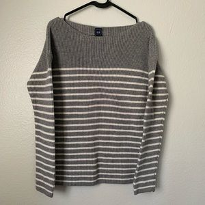 GAP wool blend grey /white stripe pullover sweater